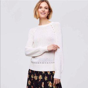 LOFT Pointelle Blouson Sleeve Sweater size XL